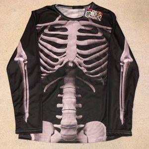 Skeleton long sleeve T-shirt Halloween bones XL